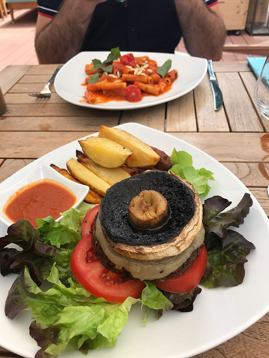 """Photo of Eqvita  by <a href=""""/members/profile/ChristieDelaney"""">ChristieDelaney</a> <br/>Burger and macaroni for main <br/> August 30, 2017  - <a href='/contact/abuse/image/72358/298944'>Report</a>"""