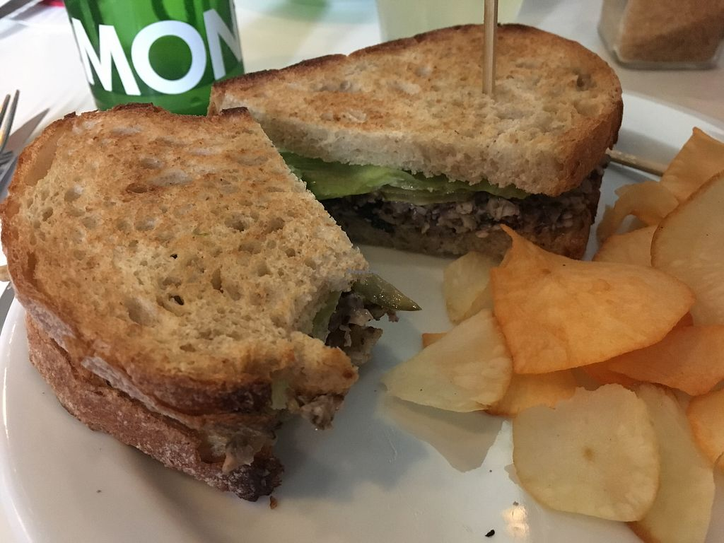 """Photo of CLOSED: Club Koffie  by <a href=""""/members/profile/kiddoc330"""">kiddoc330</a> <br/>Vegan """"tuna"""" sandwich with cassava chips <br/> July 1, 2017  - <a href='/contact/abuse/image/72401/275611'>Report</a>"""