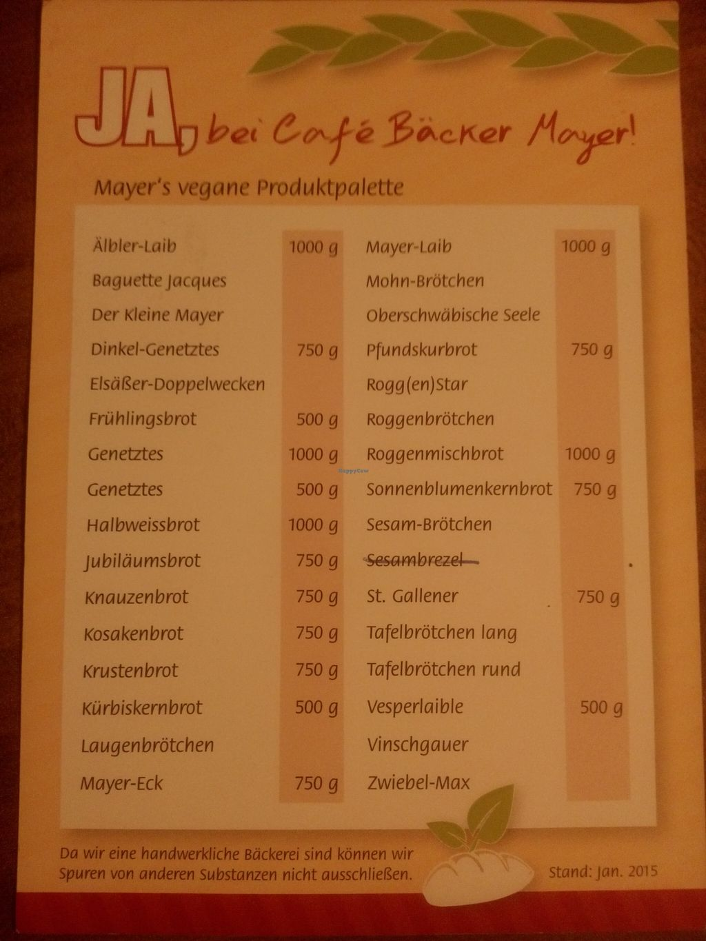 """Photo of Cafe Baecker Mayer - When Hall  by <a href=""""/members/profile/Architexturburo"""">Architexturburo</a> <br/>brochure vegan products back <br/> April 20, 2016  - <a href='/contact/abuse/image/72414/145408'>Report</a>"""