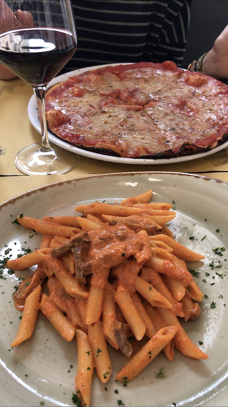 "Photo of Rifugio Romano  by <a href=""/members/profile/mikeybutt"">mikeybutt</a> <br/>Penne allá vodka vegan and vegan margarita pizza <br/> April 15, 2018  - <a href='/contact/abuse/image/72423/386435'>Report</a>"