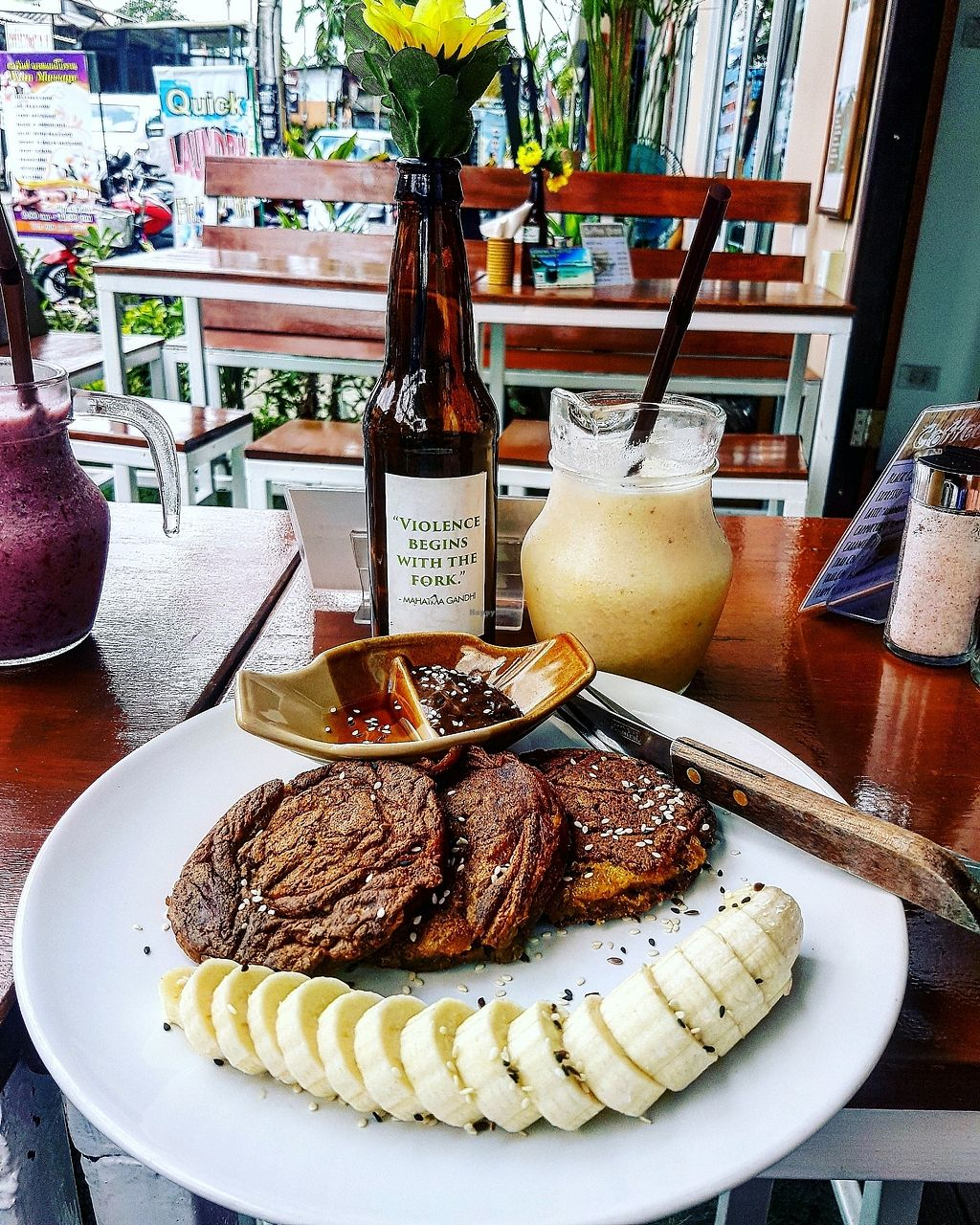 """Photo of Pure Vegan Heaven  by <a href=""""/members/profile/rachaelcherry"""">rachaelcherry</a> <br/>sweet potato and banana pancakes and pineapple, orange amd banana smoothie <br/> September 27, 2017  - <a href='/contact/abuse/image/72425/308960'>Report</a>"""