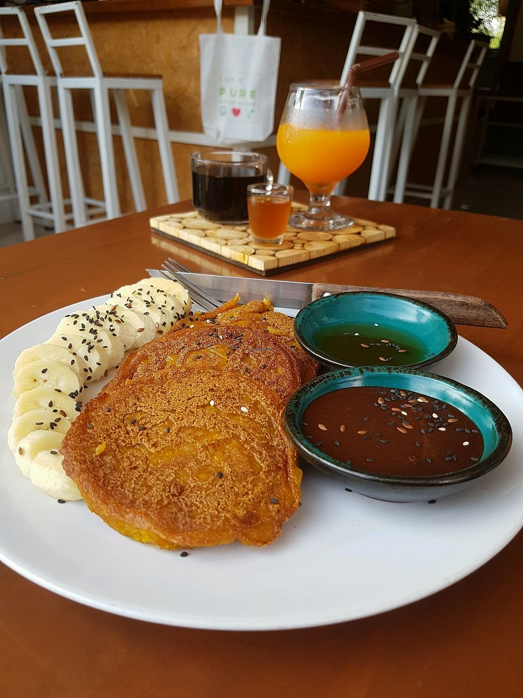 """Photo of Pure Vegan Heaven  by <a href=""""/members/profile/vegatleticas"""">vegatleticas</a> <br/>Sweet potato pancakes with banana and vegan nutella ? <br/> February 26, 2018  - <a href='/contact/abuse/image/72425/363925'>Report</a>"""