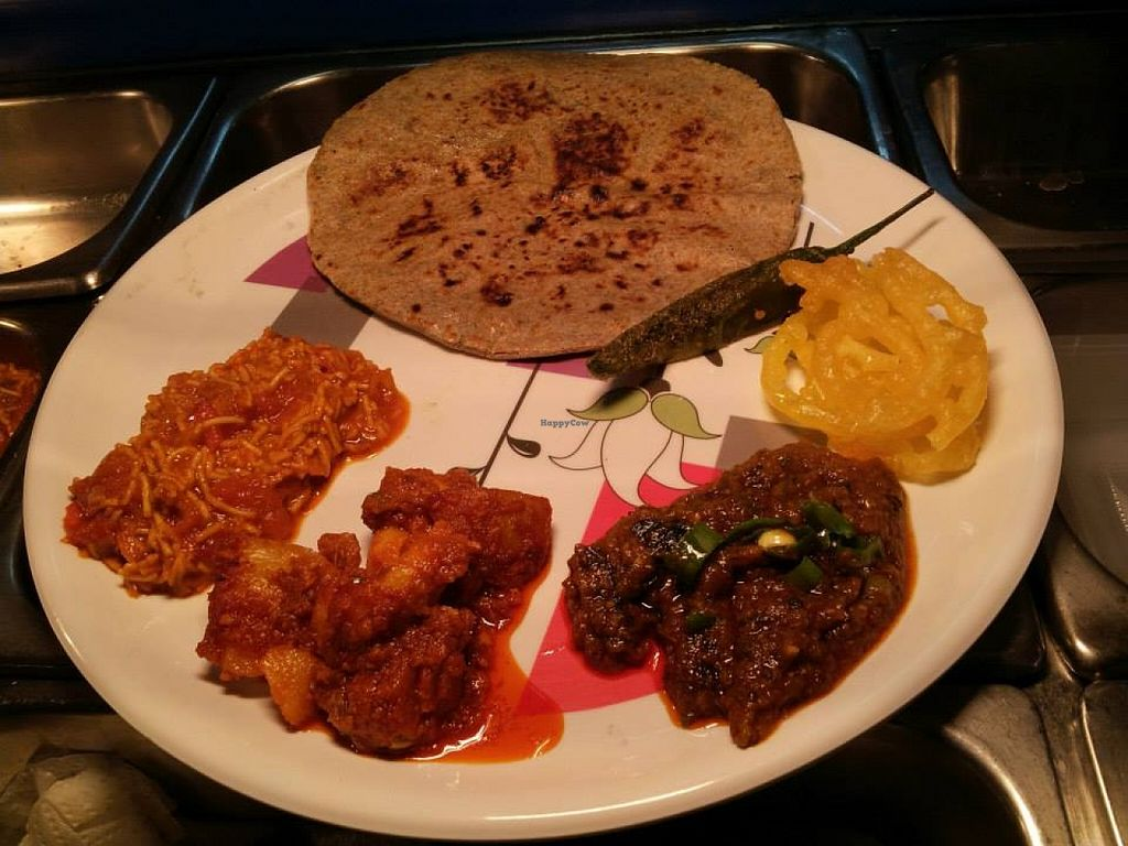 """Photo of Mother India Vegetarian  by <a href=""""/members/profile/community"""">community</a> <br/>vegetarian platter <br/> May 2, 2016  - <a href='/contact/abuse/image/72487/147185'>Report</a>"""
