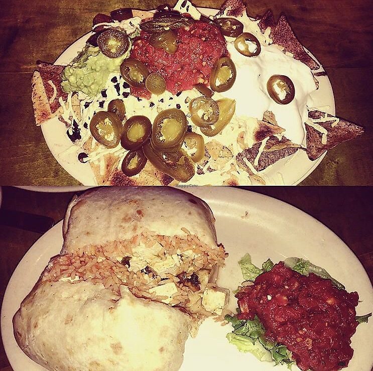 """Photo of Mad Mex  by <a href=""""/members/profile/Tabgreenvegan"""">Tabgreenvegan</a> <br/>Vegan Nachos & Burrito  <br/> March 28, 2018  - <a href='/contact/abuse/image/7248/377453'>Report</a>"""