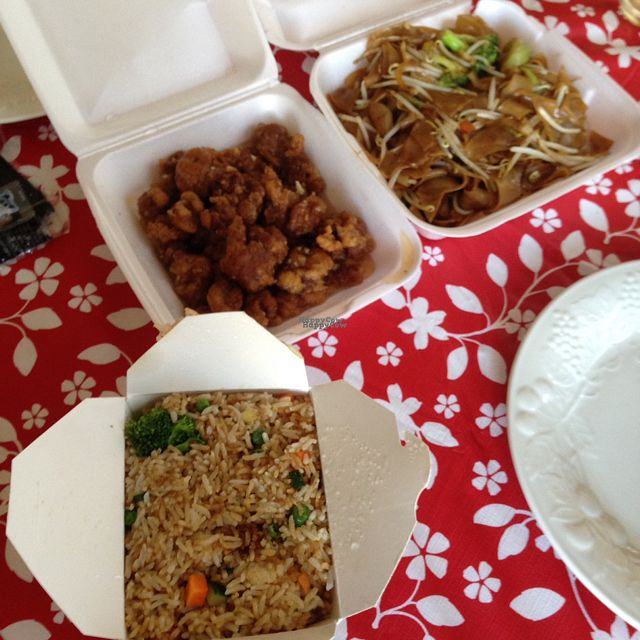 """Photo of Little Peking  by <a href=""""/members/profile/Lanahexapod"""">Lanahexapod</a> <br/>Veggie fried rice, vegan orange chickn, and chow fun  <br/> October 2, 2016  - <a href='/contact/abuse/image/7249/179301'>Report</a>"""