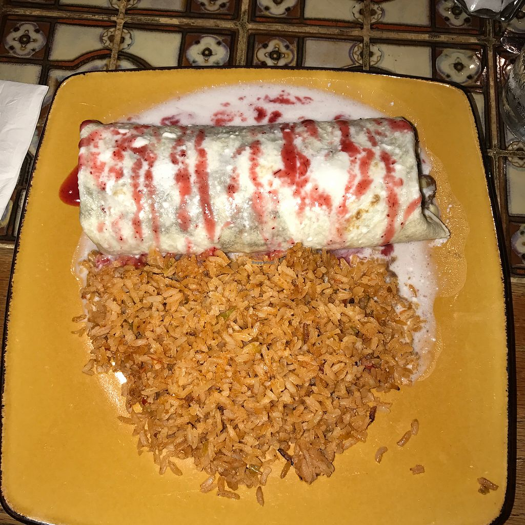"""Photo of Los Amigos  by <a href=""""/members/profile/djpelayo"""">djpelayo</a> <br/> Roasted Sweet Potato BurritoWith Black Beans, Chile & Onion Raja, Smothered in Butternut Squash Sauce, Topped with Cranberry Reduction & Coconut Cream. Served with Rice. $16 <br/> June 25, 2017  - <a href='/contact/abuse/image/72506/273448'>Report</a>"""