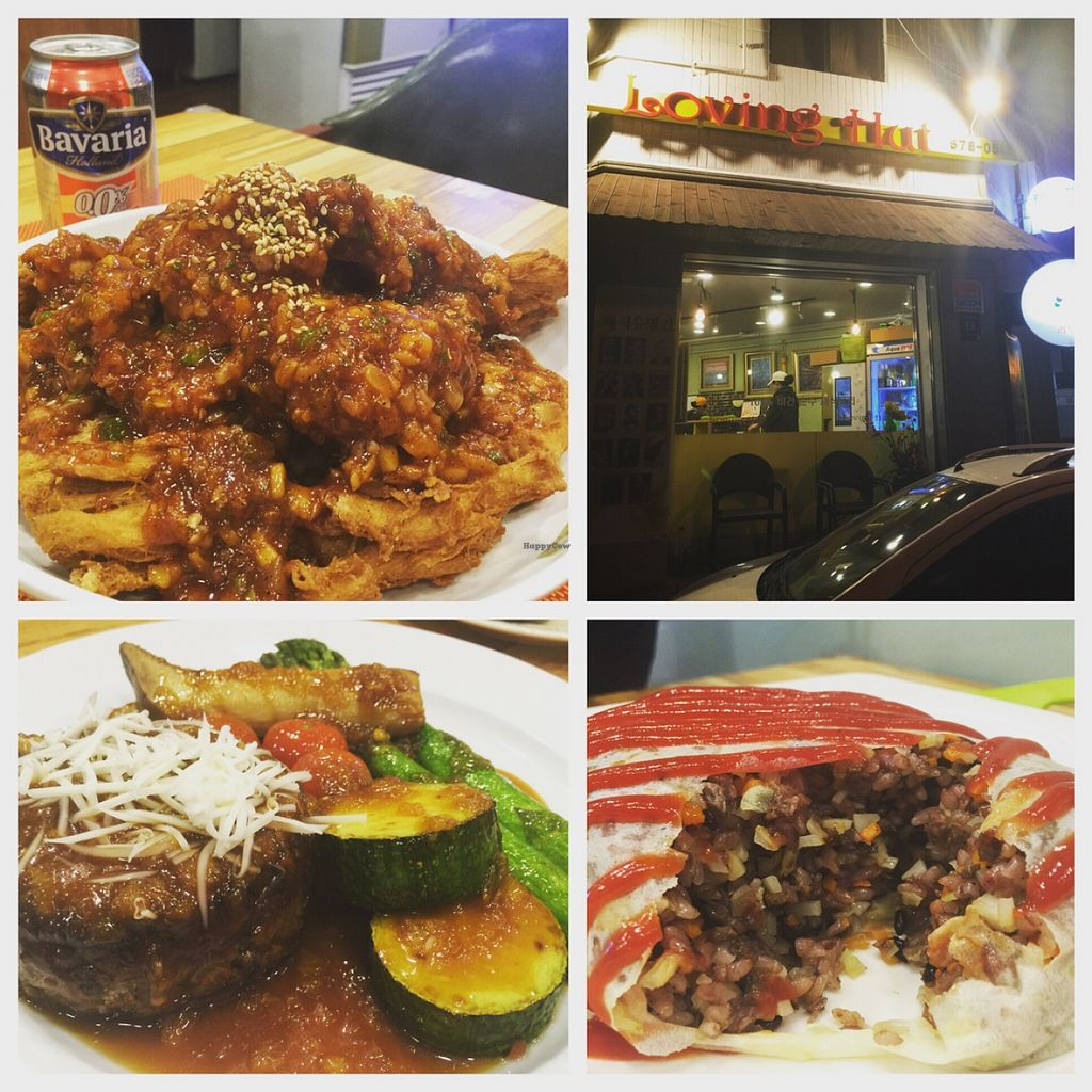 "Photo of Loving Hut Smile - 러빙헛 스마일  by <a href=""/members/profile/amandateng"">amandateng</a> <br/>the top left is the (very) spicy medium size fried chicken. paired with beer it is an authentic Korean dish that's veganised. bottom are cheesy steak and 'omelette' <br/> May 4, 2016  - <a href='/contact/abuse/image/72515/147517'>Report</a>"
