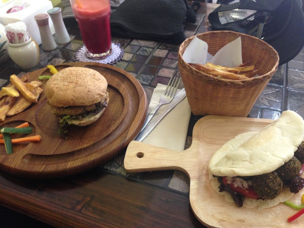 "Photo of CLOSED: Karma Kitchen  by <a href=""/members/profile/jonny%20starch"">jonny starch</a> <br/>mixed mushroom burger, Thai falafel wrap with hand cut fries and a fresh juice <br/> April 23, 2016  - <a href='/contact/abuse/image/72555/145848'>Report</a>"