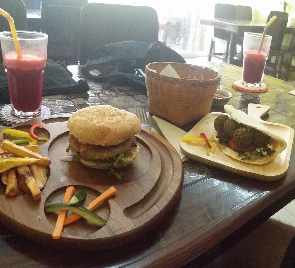 "Photo of CLOSED: Karma Kitchen  by <a href=""/members/profile/Anna%20S"">Anna S</a> <br/>Mixed mushroom burger, falafel burger, fresh juice with apple carrot beetroot and ginger. Plus extra fries :D <br/> April 23, 2016  - <a href='/contact/abuse/image/72555/145853'>Report</a>"