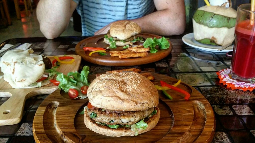 "Photo of CLOSED: Karma Kitchen  by <a href=""/members/profile/Anna%20S"">Anna S</a> <br/>Back again for mushroom burger, chickpea burger and original falafel pita :D <br/> April 25, 2016  - <a href='/contact/abuse/image/72555/146245'>Report</a>"