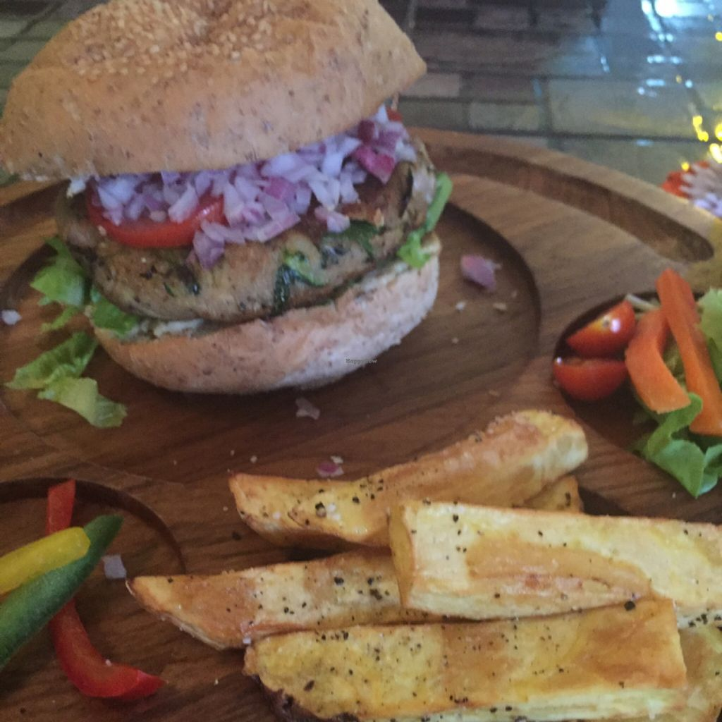 "Photo of CLOSED: Karma Kitchen  by <a href=""/members/profile/Oskorei"">Oskorei</a> <br/>Gourmet Chickpea Burger  <br/> May 7, 2016  - <a href='/contact/abuse/image/72555/147832'>Report</a>"