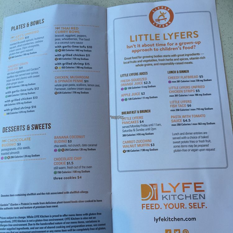 "Photo of CLOSED: LYFE Kitchen  by <a href=""/members/profile/DanaS45"">DanaS45</a> <br/>menu <br/> August 25, 2016  - <a href='/contact/abuse/image/72579/171385'>Report</a>"