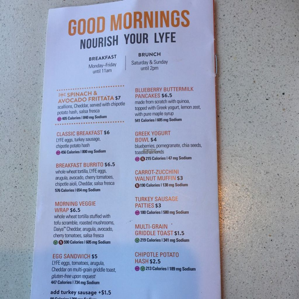 "Photo of CLOSED: LYFE Kitchen  by <a href=""/members/profile/DanaS45"">DanaS45</a> <br/>menu <br/> August 25, 2016  - <a href='/contact/abuse/image/72579/171386'>Report</a>"