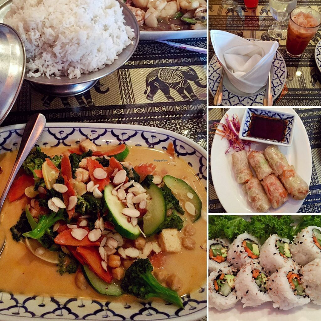 """Photo of Thai Basil II  by <a href=""""/members/profile/CarolineALF"""">CarolineALF</a> <br/>Some of the vegan options - budd-ha, Thai tea w/coconut milk, meh kow roll, veggie roll sushi.  <br/> June 17, 2016  - <a href='/contact/abuse/image/72621/154404'>Report</a>"""