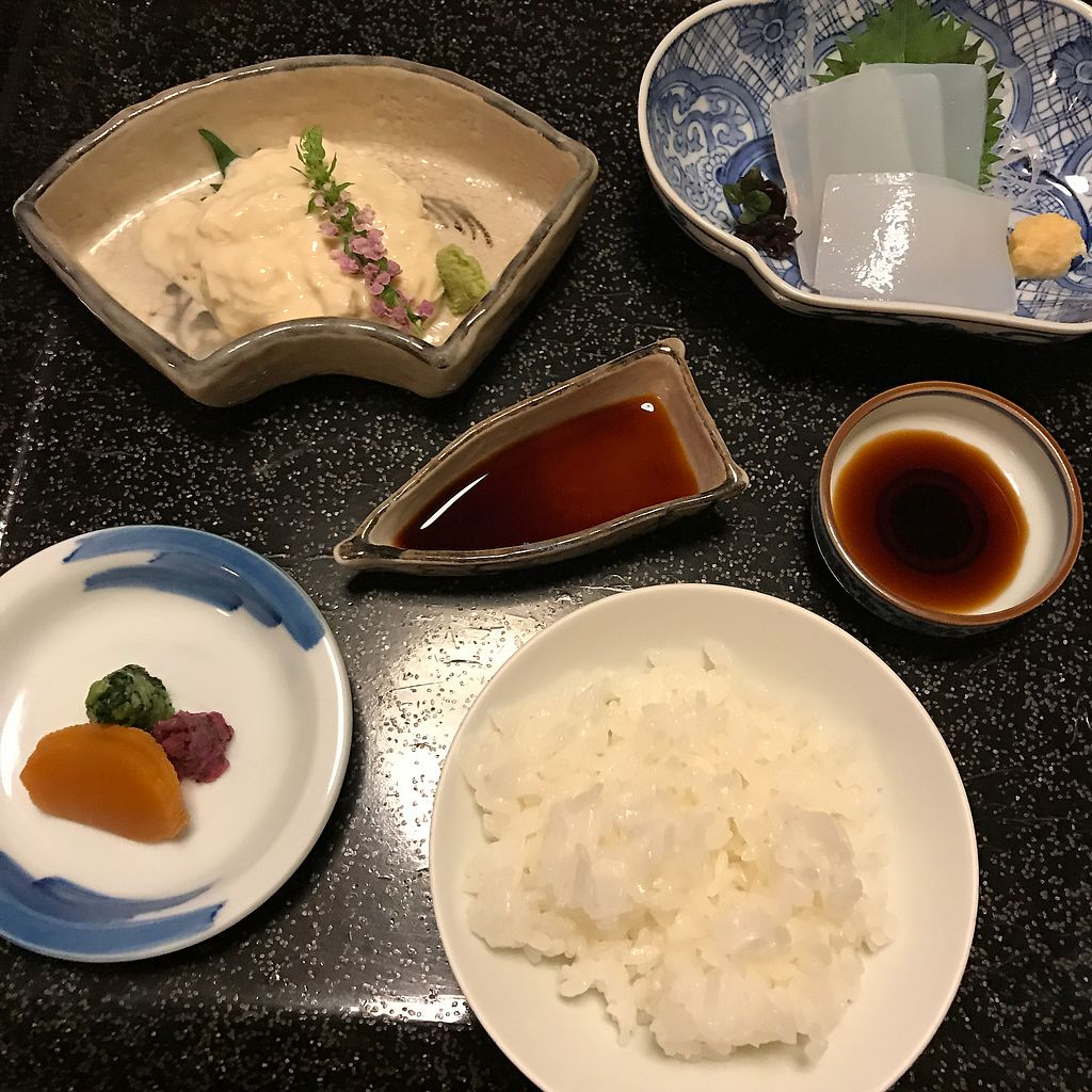 """Photo of Kan Suiro  by <a href=""""/members/profile/SimonJohnson"""">SimonJohnson</a> <br/>1/4 - the tofu with wasabi, soy and rice was particularly amazing <br/> August 8, 2017  - <a href='/contact/abuse/image/72627/290455'>Report</a>"""