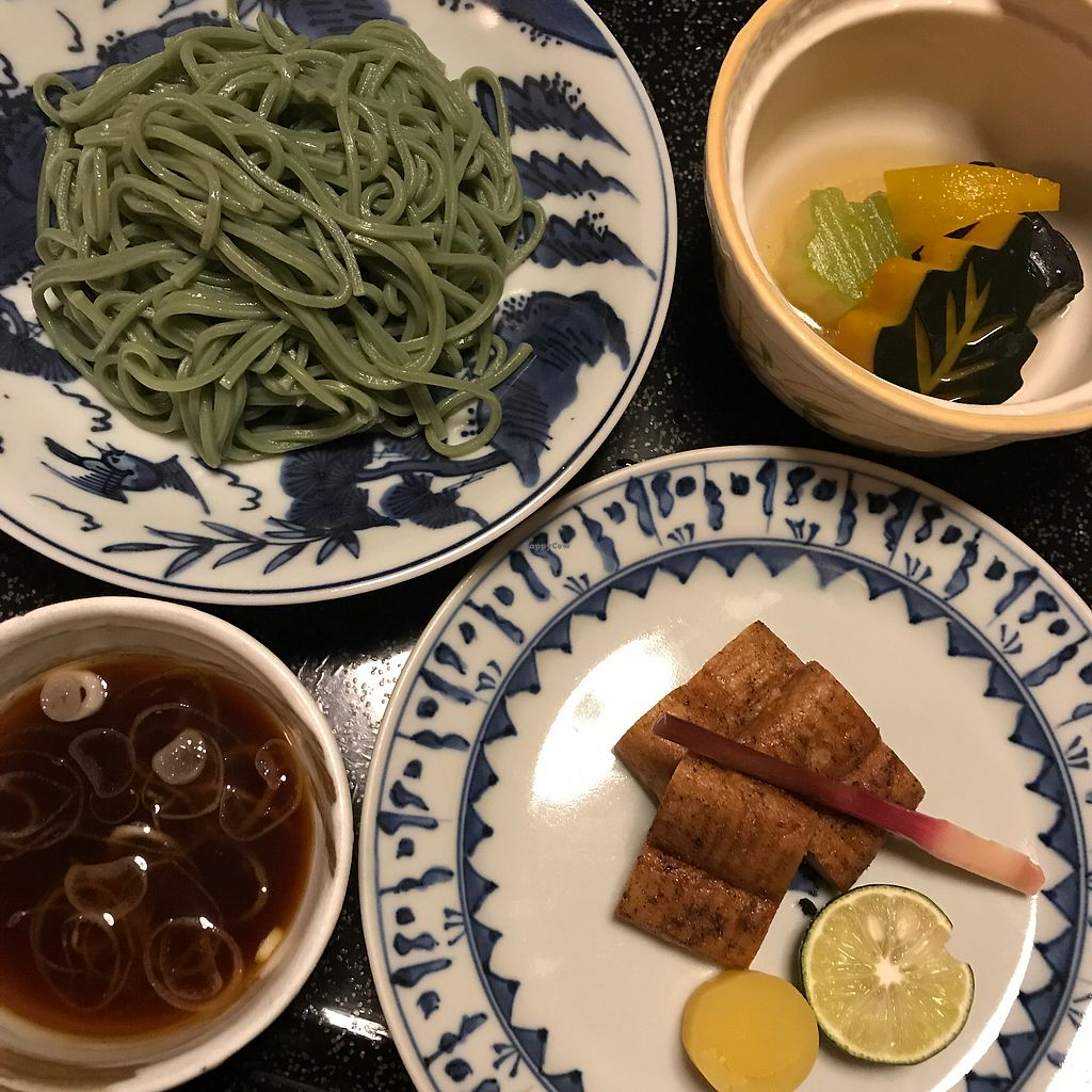 """Photo of Kan Suiro  by <a href=""""/members/profile/SimonJohnson"""">SimonJohnson</a> <br/>3/4 green tea noodles were superb as well as the lotus root resembling fried eel.  <br/> August 8, 2017  - <a href='/contact/abuse/image/72627/290457'>Report</a>"""