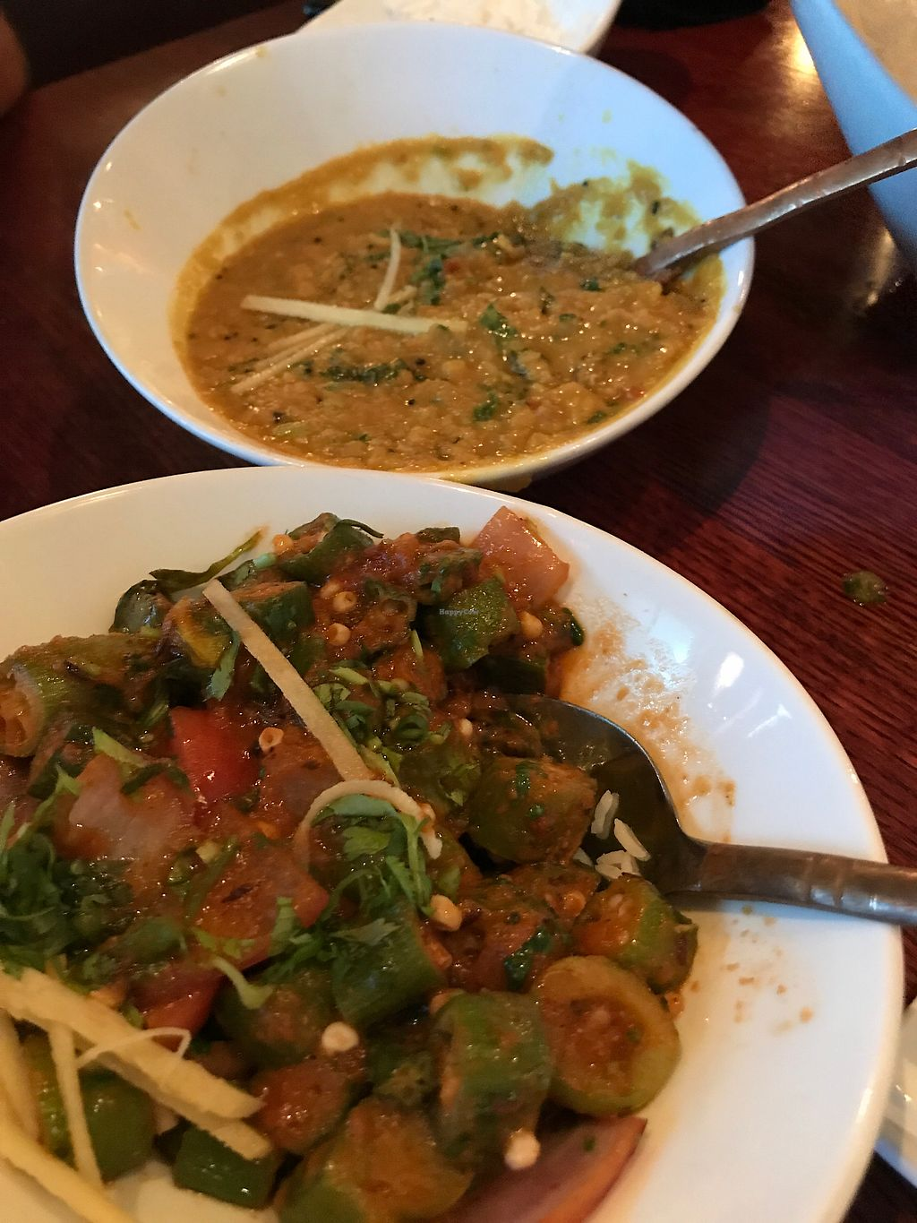 """Photo of Monsoon Indian Grill  by <a href=""""/members/profile/Labylala"""">Labylala</a> <br/>okra dish and yellow dahl <br/> July 9, 2017  - <a href='/contact/abuse/image/72664/278048'>Report</a>"""