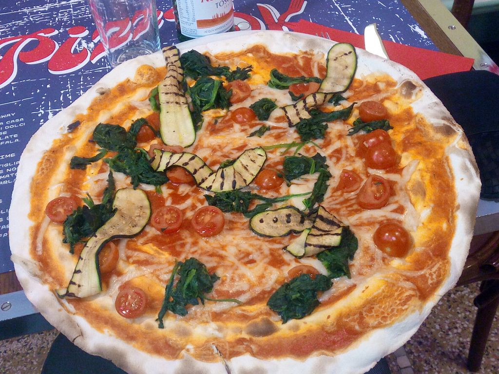 """Photo of Pizza OK 2  by <a href=""""/members/profile/semtmb"""">semtmb</a> <br/>In pizza menu you can choose from 2 excellent vegan pizzas   - the n. ° 148 Vegana with tomato, mozzaRisella rice, tomatoes, zucchini, spinach   - the No. 149 Vegana with tomato, mozzaRisella rice, sausage good vegan base of the thin pizza and digestible <br/> October 9, 2016  - <a href='/contact/abuse/image/72699/180766'>Report</a>"""