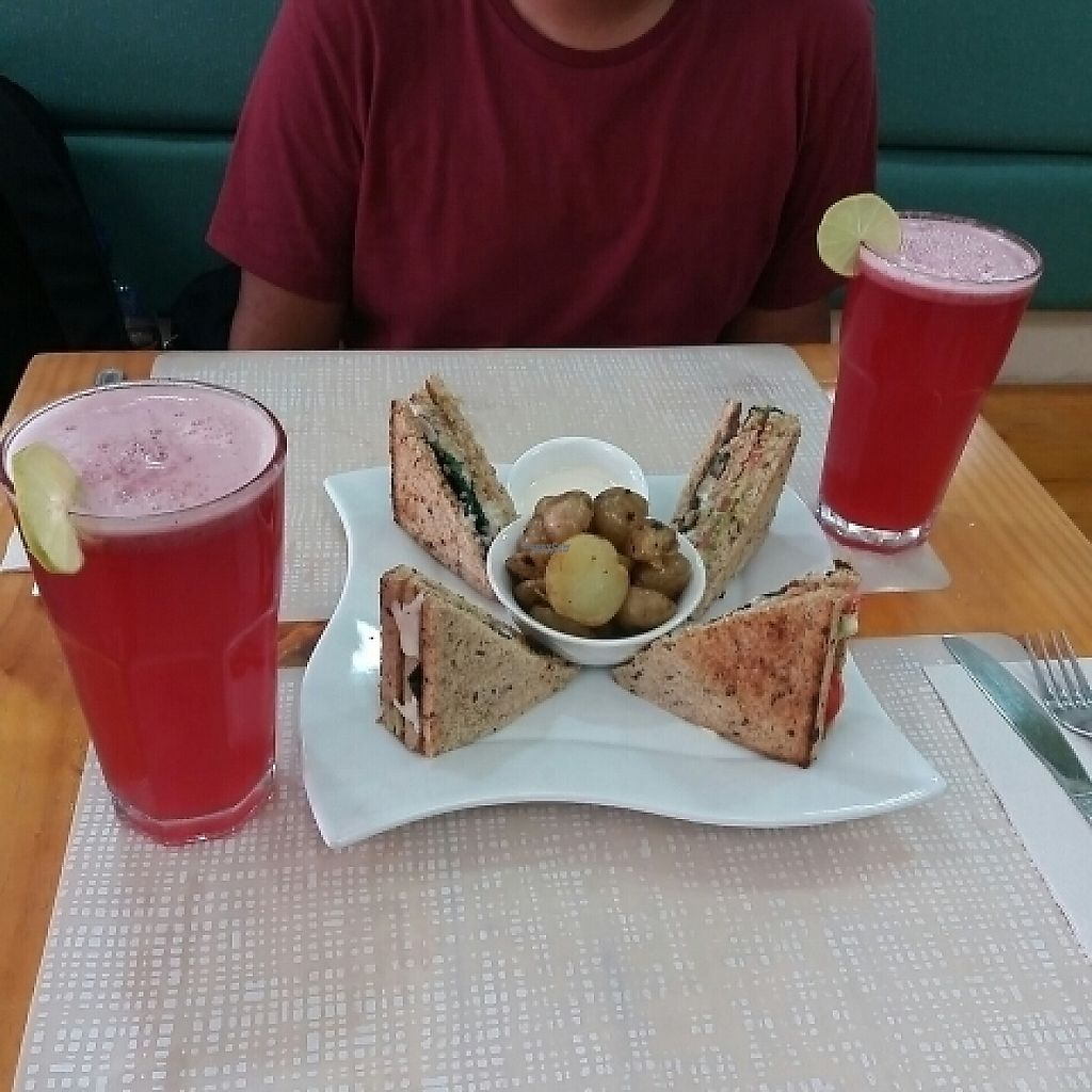 """Photo of SANA Vegan Cafe  by <a href=""""/members/profile/alessa182"""">alessa182</a> <br/>Club sandwich and berrie's lemonade <br/> April 21, 2017  - <a href='/contact/abuse/image/72735/250666'>Report</a>"""