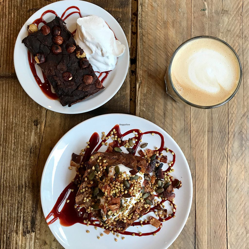 """Photo of CLOSED: SaladPride  by <a href=""""/members/profile/thecharlotte"""">thecharlotte</a> <br/>Black bean brownie and baked apple banana bread topped with coconut yoghurt  <br/> October 25, 2017  - <a href='/contact/abuse/image/72743/318741'>Report</a>"""
