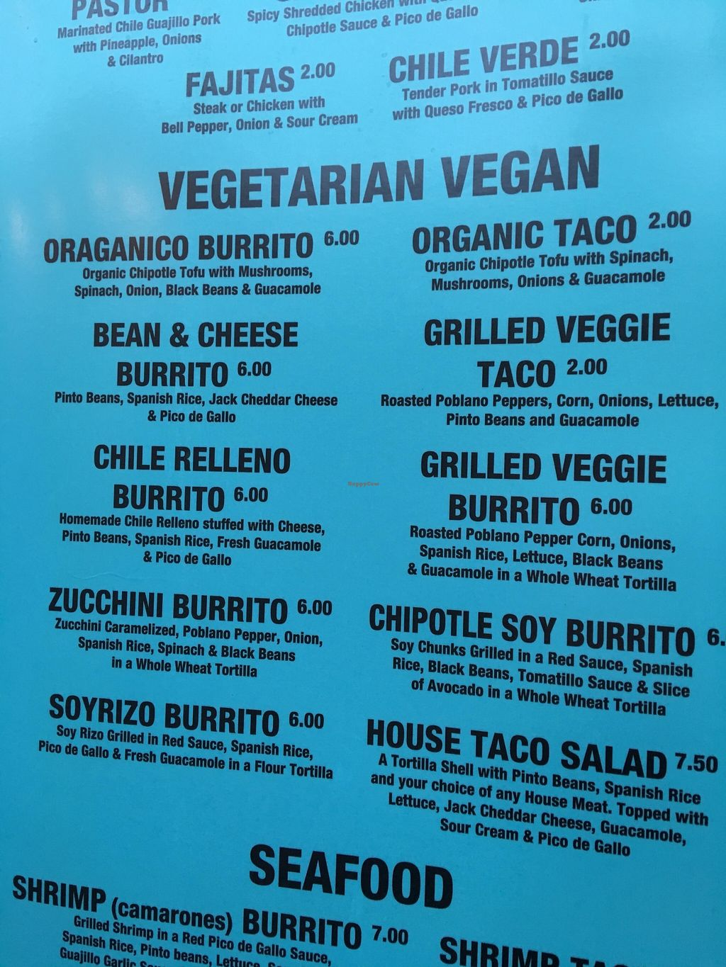 """Photo of Azul Tequila Mexican Taqueria - Food Truck  by <a href=""""/members/profile/Arthousebill"""">Arthousebill</a> <br/>Veg menu <br/> April 22, 2016  - <a href='/contact/abuse/image/72747/145796'>Report</a>"""
