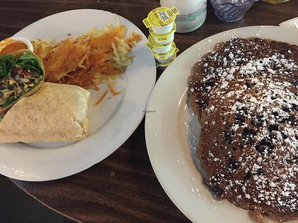 """Photo of Jam on Hawthorne  by <a href=""""/members/profile/TheVeganNarwhal"""">TheVeganNarwhal</a> <br/>Pancakes and breakfast burrito <br/> February 12, 2018  - <a href='/contact/abuse/image/72751/358247'>Report</a>"""