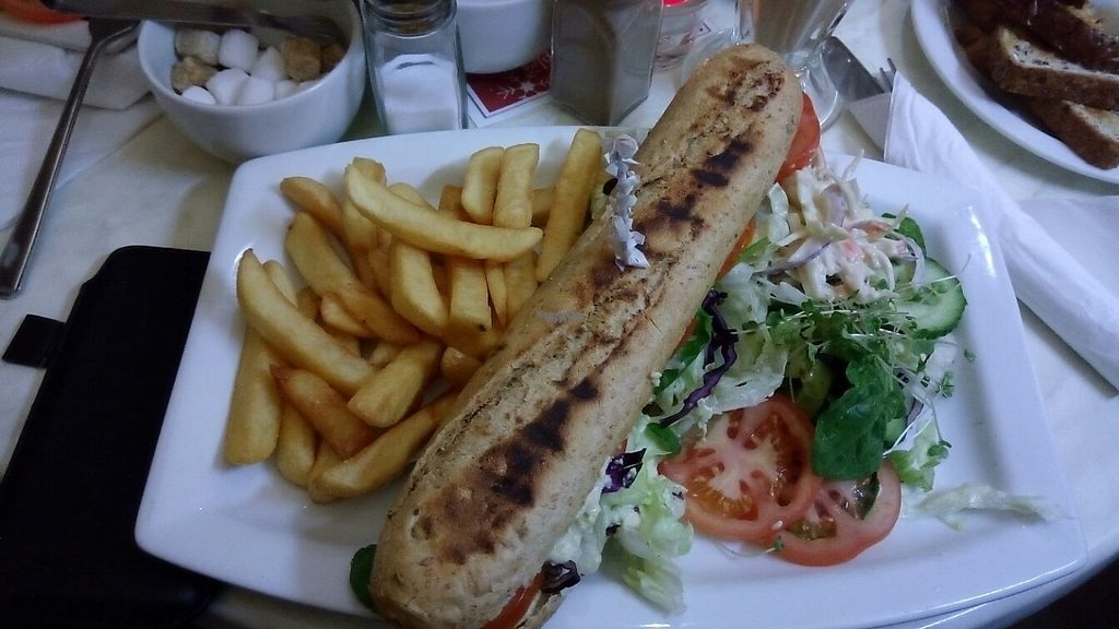 "Photo of Cafe 50  by <a href=""/members/profile/VeganWitchery"">VeganWitchery</a> <br/>Vegan BLT Baguette, chip's & salad <br/> December 18, 2016  - <a href='/contact/abuse/image/72802/202455'>Report</a>"