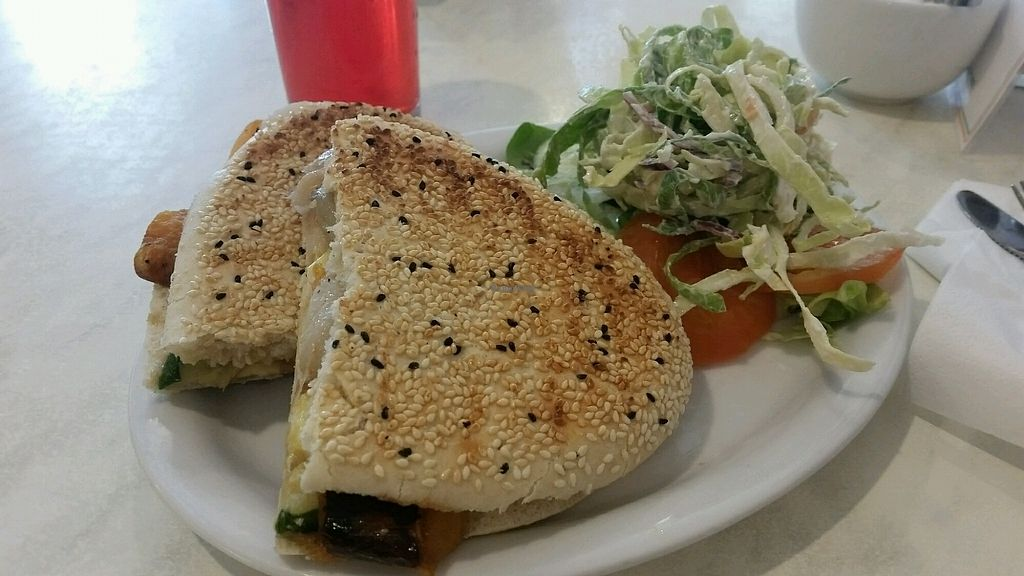 "Photo of Cafe 50  by <a href=""/members/profile/ChantalW"">ChantalW</a> <br/>Roasted vegetables and vegan cheese panini with vegan coleslaw  <br/> February 17, 2018  - <a href='/contact/abuse/image/72802/360273'>Report</a>"