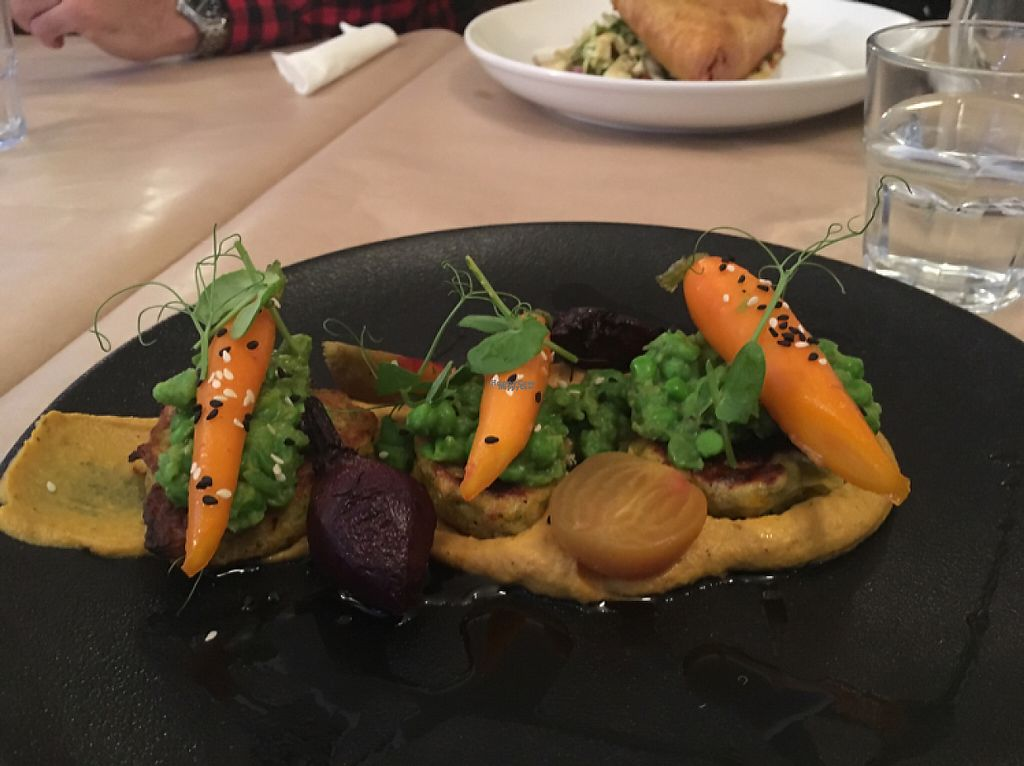 """Photo of Governors Bay Hotel  by <a href=""""/members/profile/Yolanda"""">Yolanda</a> <br/>vegan corn cakes on a truffle cream and carrots  <br/> April 26, 2017  - <a href='/contact/abuse/image/72816/252642'>Report</a>"""