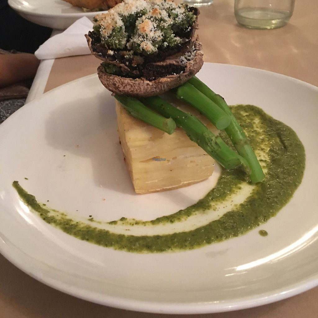 """Photo of Governors Bay Hotel  by <a href=""""/members/profile/Yolanda"""">Yolanda</a> <br/>stuffed mushrooms on potatoes dauphinois  <br/> April 26, 2017  - <a href='/contact/abuse/image/72816/252646'>Report</a>"""