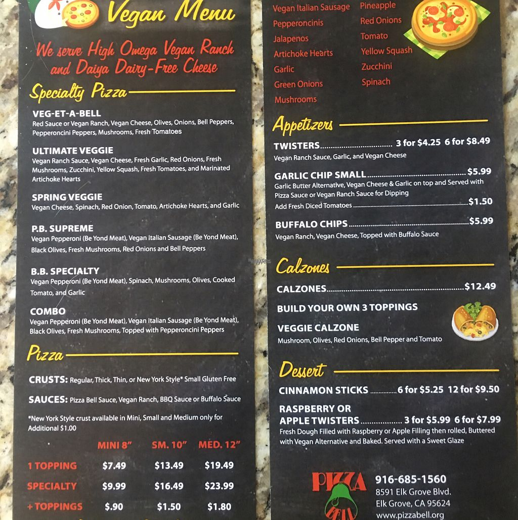 """Photo of Pizza Bell  by <a href=""""/members/profile/Beryl"""">Beryl</a> <br/>huge new vegan menu!!! <br/> September 5, 2016  - <a href='/contact/abuse/image/72819/173780'>Report</a>"""
