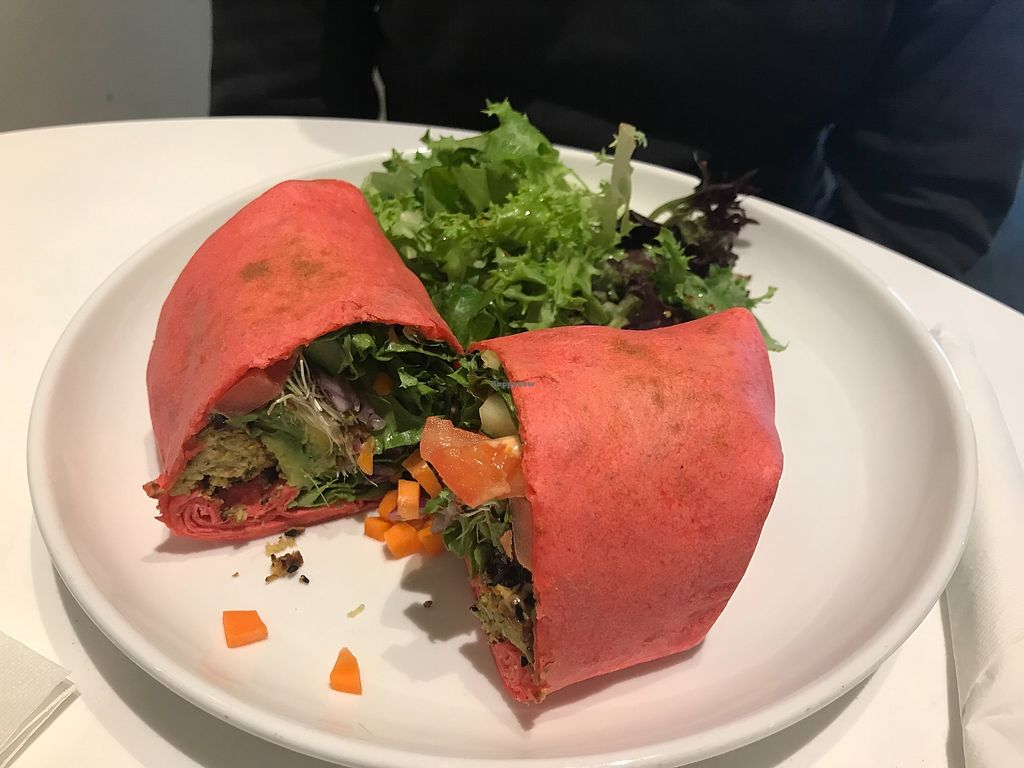 "Photo of Vini Culture  by <a href=""/members/profile/Alysoun%20Mahoney"">Alysoun Mahoney</a> <br/>Vegan falafel wrap with spicy vegenaise <br/> April 8, 2018  - <a href='/contact/abuse/image/72839/382714'>Report</a>"