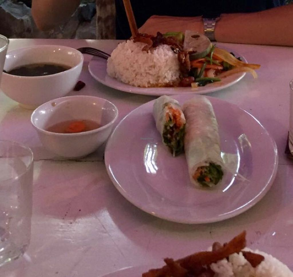 """Photo of Buddha Belly - Buddha Garden  by <a href=""""/members/profile/Shannybadds"""">Shannybadds</a> <br/>veg rice paper rolls & the SMALL vegan dish <br/> July 26, 2016  - <a href='/contact/abuse/image/72870/162445'>Report</a>"""
