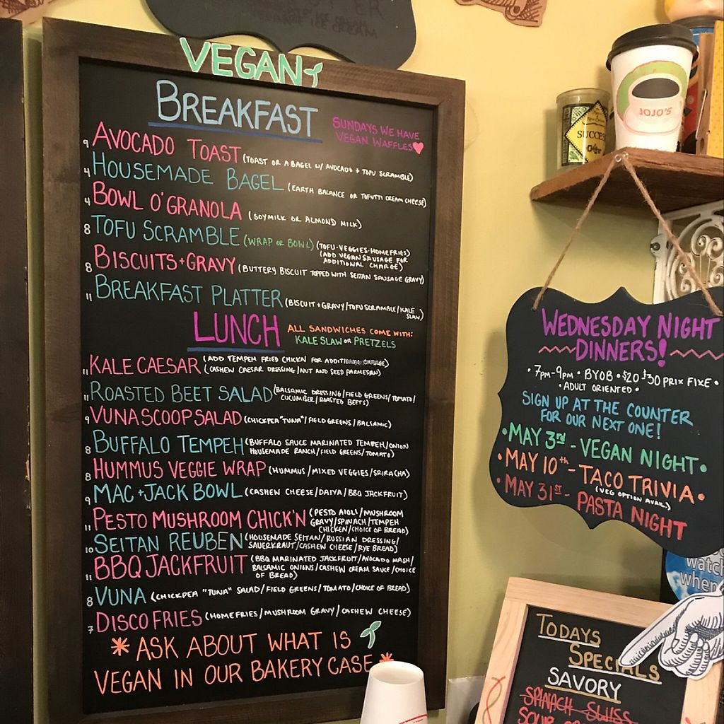 """Photo of Cedar Ridge Cafe & Bakery  by <a href=""""/members/profile/ChrisBearAnthony"""">ChrisBearAnthony</a> <br/>vegan menu <br/> May 4, 2017  - <a href='/contact/abuse/image/72904/255365'>Report</a>"""