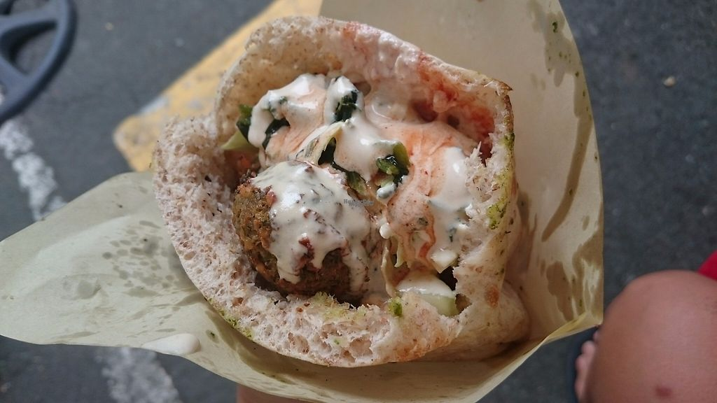"""Photo of Legazpi Sunday Market  by <a href=""""/members/profile/peas-full"""">peas-full</a> <br/>Falafel with tahina sauce. 100% vegan  <br/> December 12, 2016  - <a href='/contact/abuse/image/72912/200219'>Report</a>"""