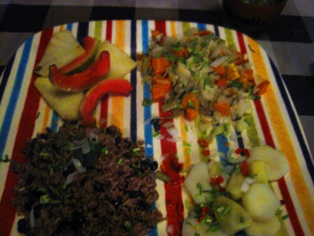 """Photo of CLOSED: Somos Cuba  by <a href=""""/members/profile/Babette"""">Babette</a> <br/>Vegan plate with rice and beans, grilled fruits, potatoes and sautéed vegetables. It was tasty <br/> May 1, 2016  - <a href='/contact/abuse/image/72935/146927'>Report</a>"""