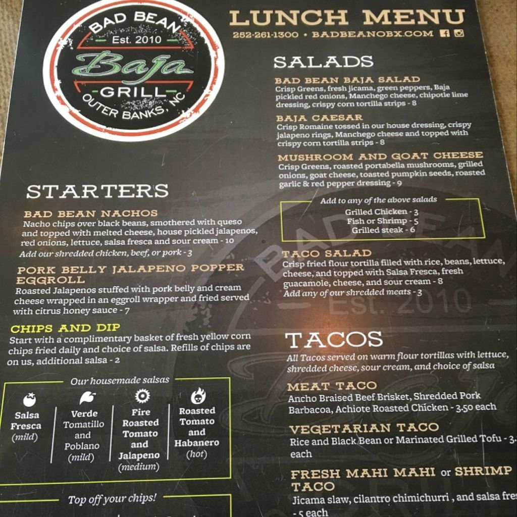 "Photo of Bad Bean Baja Grill  by <a href=""/members/profile/Simikian"">Simikian</a> <br/>Menu side 1 <br/> July 26, 2016  - <a href='/contact/abuse/image/72985/162464'>Report</a>"