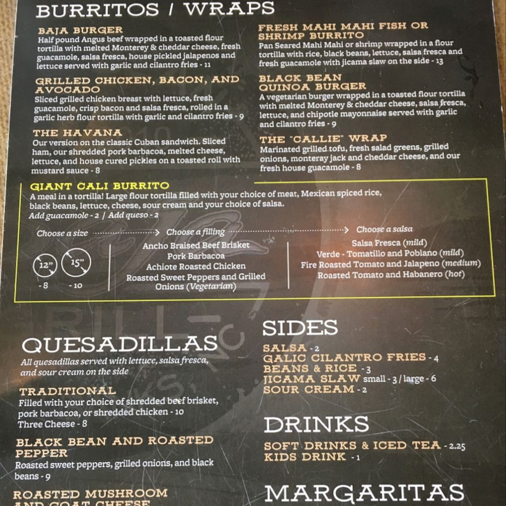 "Photo of Bad Bean Baja Grill  by <a href=""/members/profile/Simikian"">Simikian</a> <br/>Menu side 2 <br/> July 26, 2016  - <a href='/contact/abuse/image/72985/162465'>Report</a>"