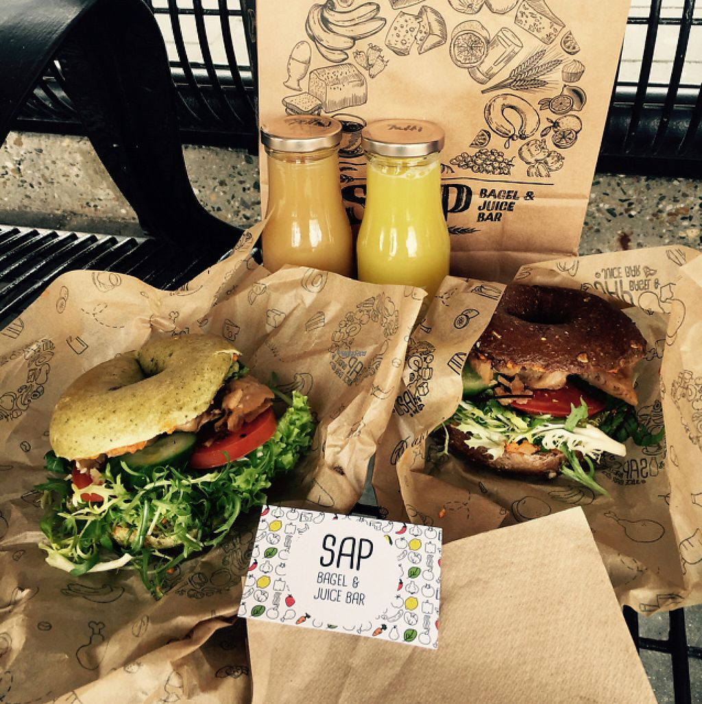 """Photo of SAP Bagel & Juice Bar - Stationsstraat  by <a href=""""/members/profile/VeganDooby"""">VeganDooby</a> <br/>Breakfast before catching the train <br/> February 21, 2017  - <a href='/contact/abuse/image/73032/228844'>Report</a>"""