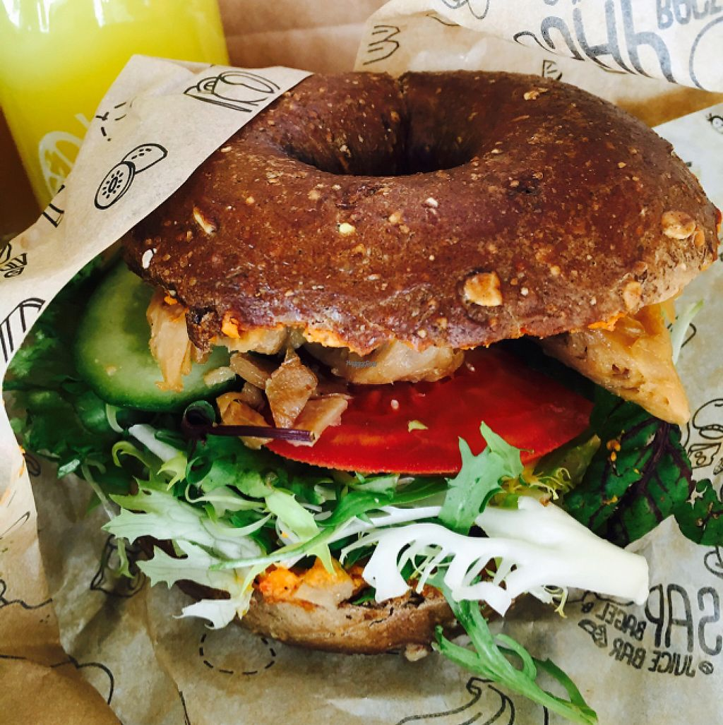 """Photo of SAP Bagel & Juice Bar - Stationsstraat  by <a href=""""/members/profile/VeganDooby"""">VeganDooby</a> <br/>Vegan chicken on a multigrain bagel <br/> February 21, 2017  - <a href='/contact/abuse/image/73032/228846'>Report</a>"""