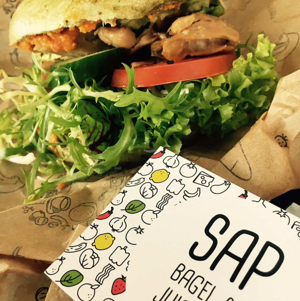 """Photo of SAP Bagel & Juice Bar - Stationsstraat  by <a href=""""/members/profile/VeganDooby"""">VeganDooby</a> <br/>Olive and spinach bagel <br/> February 21, 2017  - <a href='/contact/abuse/image/73032/228849'>Report</a>"""