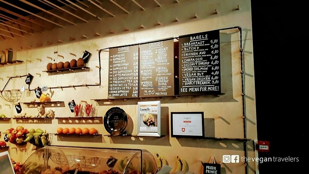 """Photo of SAP Bagel & Juice Bar - Stationsstraat  by <a href=""""/members/profile/thevegantravelers"""">thevegantravelers</a> <br/>menu <br/> May 25, 2017  - <a href='/contact/abuse/image/73032/262376'>Report</a>"""