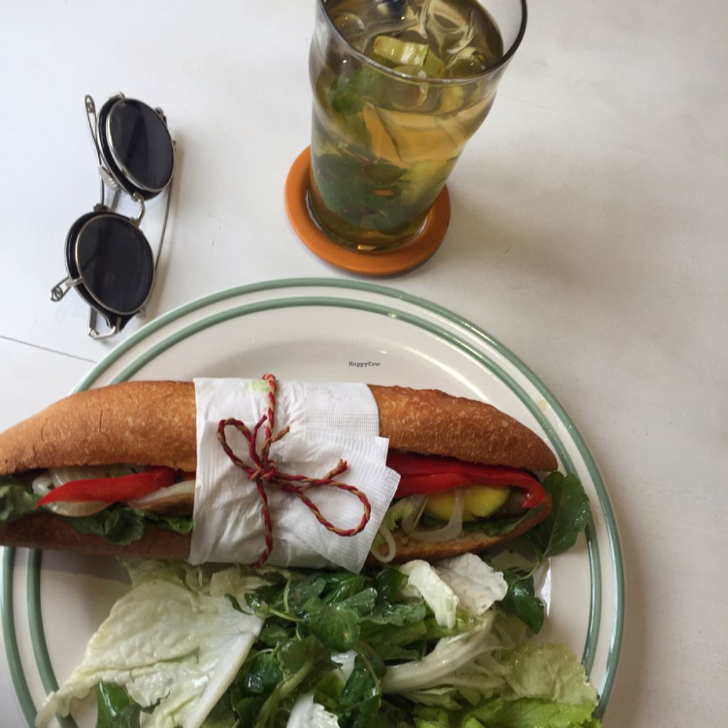 """Photo of Novelty Cafe  by <a href=""""/members/profile/E7iu5tyt"""">E7iu5tyt</a> <br/>Vegan Baguette & Green Tea <br/> July 15, 2016  - <a href='/contact/abuse/image/73061/159963'>Report</a>"""