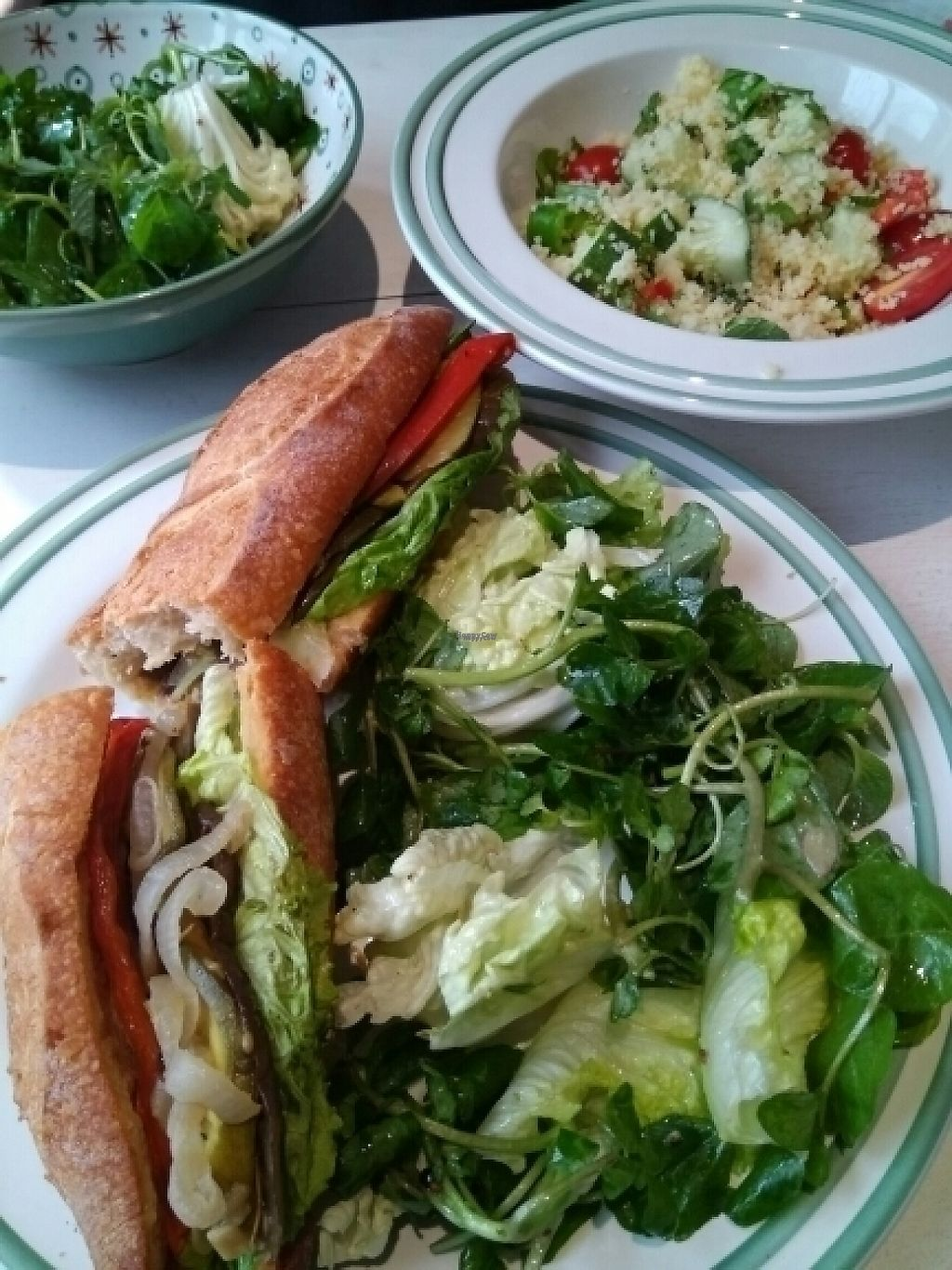 """Photo of Novelty Cafe  by <a href=""""/members/profile/happytina"""">happytina</a> <br/>vegan baguette and cous cous salad <br/> December 4, 2016  - <a href='/contact/abuse/image/73061/197146'>Report</a>"""