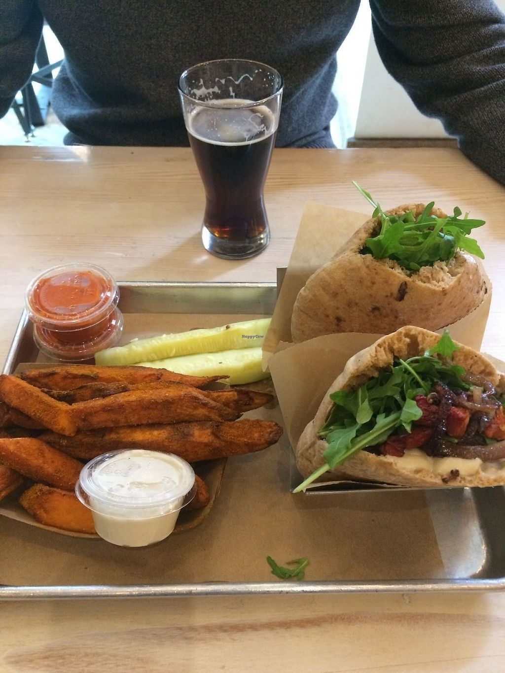 """Photo of Shouk  by <a href=""""/members/profile/MyGreenTongue"""">MyGreenTongue</a> <br/>Burger, Pita, Chips and Beer <br/> May 24, 2017  - <a href='/contact/abuse/image/73108/262178'>Report</a>"""