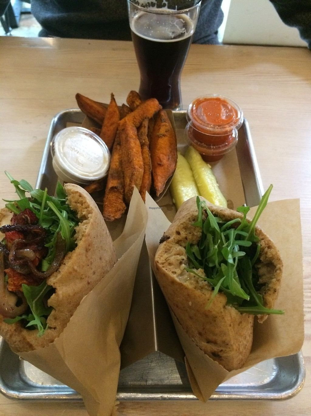 """Photo of Shouk  by <a href=""""/members/profile/MyGreenTongue"""">MyGreenTongue</a> <br/>Burger, Pita, Chips and Beer <br/> May 24, 2017  - <a href='/contact/abuse/image/73108/262179'>Report</a>"""
