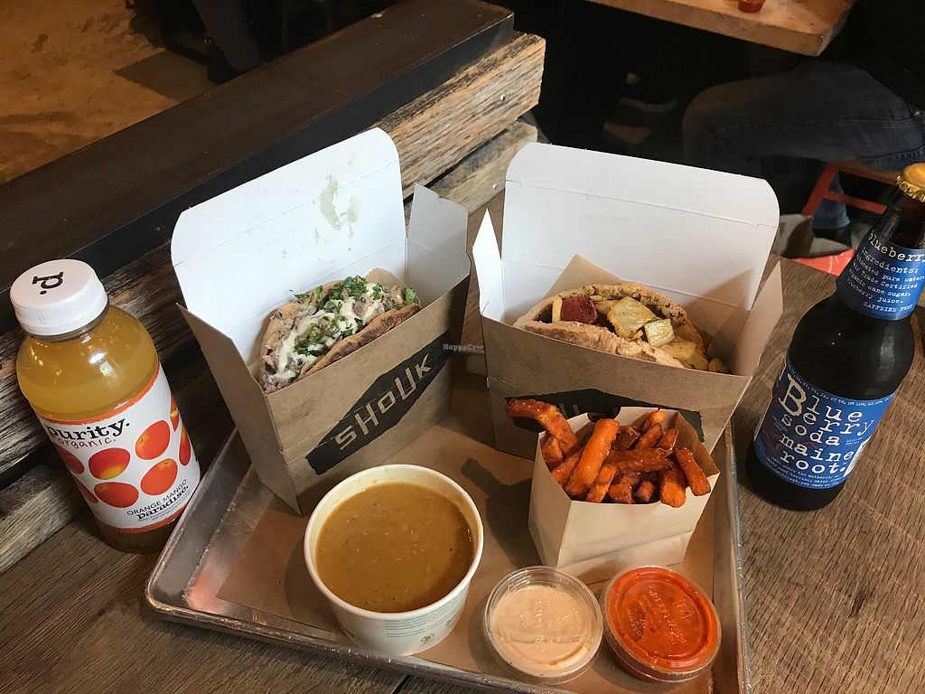 """Photo of Shouk  by <a href=""""/members/profile/mimiveganloca"""">mimiveganloca</a> <br/>Yummy pitas, sweet potato fries, and lentil soup! <br/> December 7, 2017  - <a href='/contact/abuse/image/73108/333253'>Report</a>"""