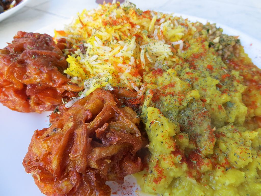 """Photo of Afghan-Eck  by <a href=""""/members/profile/NatalieBlanc"""">NatalieBlanc</a> <br/>Pakora and Basmati rice and lentils curry <br/> July 10, 2017  - <a href='/contact/abuse/image/73130/278614'>Report</a>"""