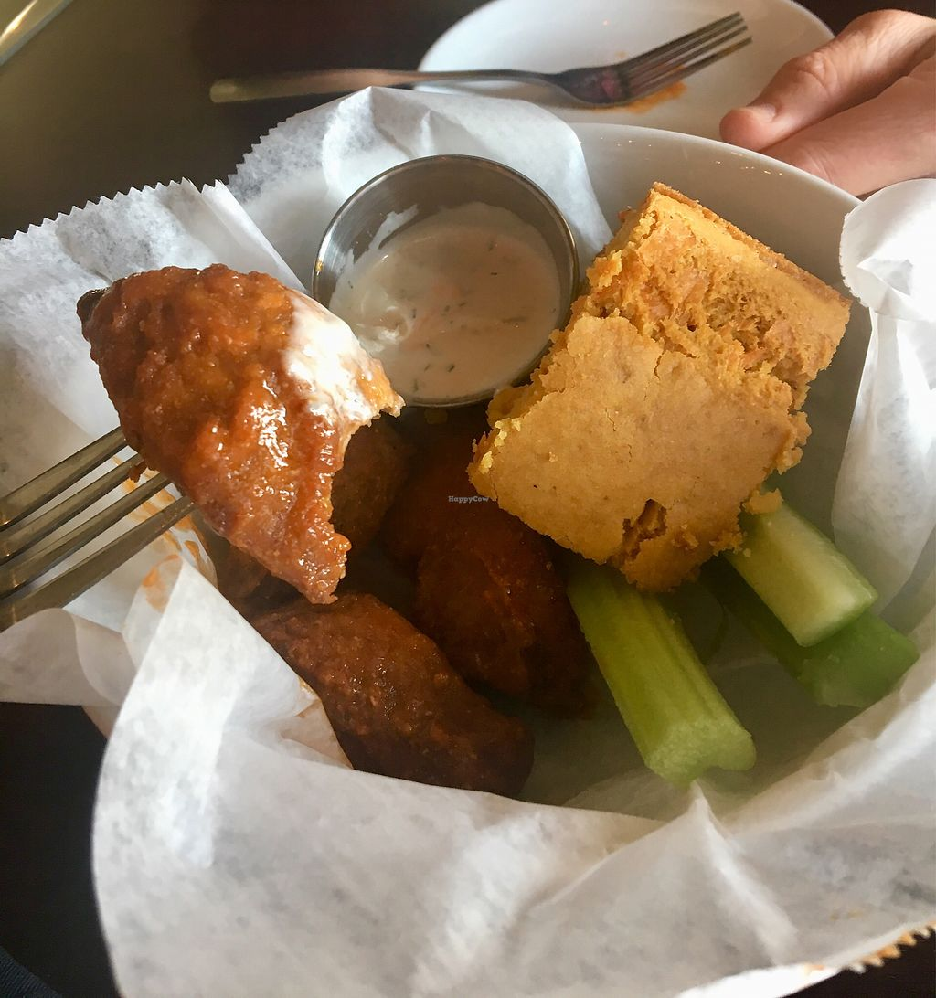 """Photo of Graze  by <a href=""""/members/profile/Thepennsyltuckyvegan"""">Thepennsyltuckyvegan</a> <br/>Seiten wings & cheesy cornbread w/ ranch and celery  <br/> March 14, 2018  - <a href='/contact/abuse/image/73189/370660'>Report</a>"""