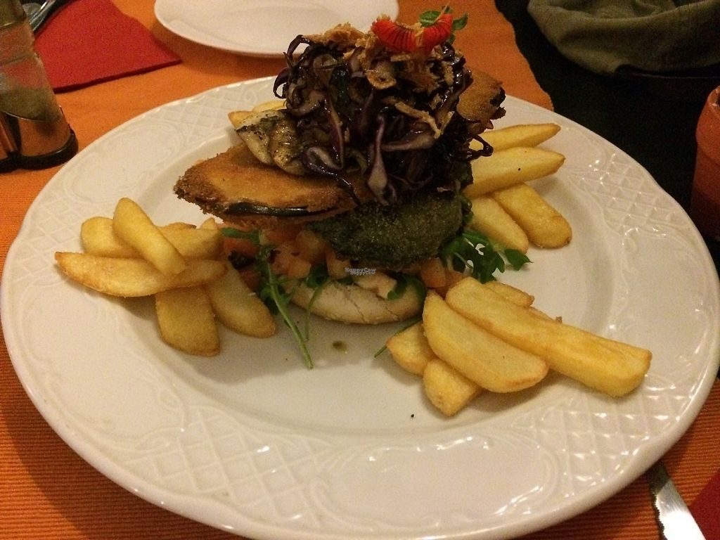 """Photo of Dolmen Bar  by <a href=""""/members/profile/gabilew"""">gabilew</a> <br/>vegan burger with  caramelised onions, breaded aubergine, and spinach pattie <br/> January 30, 2017  - <a href='/contact/abuse/image/73225/219627'>Report</a>"""